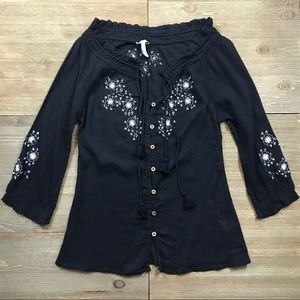 Joie Floral Embroidered Button Down Blouse
